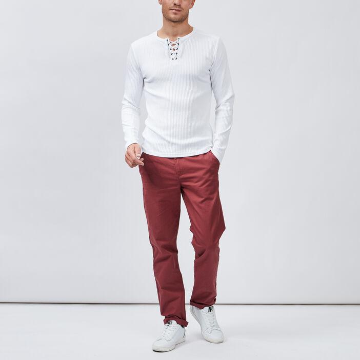 Pantalon droit homme bordeaux