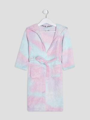 Peignoir de pyjama a capuche multicolore fille