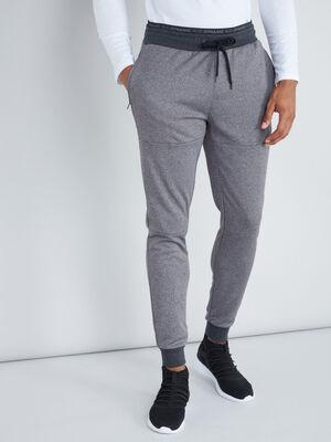 Pantalon taille elastiquee gris homme