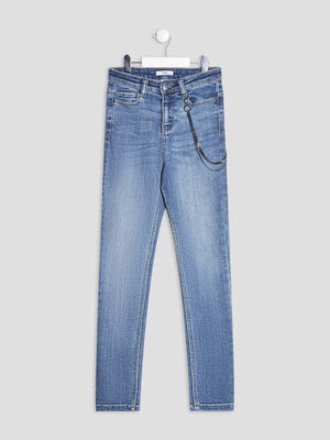Jeans slim taille haute denim stone fille