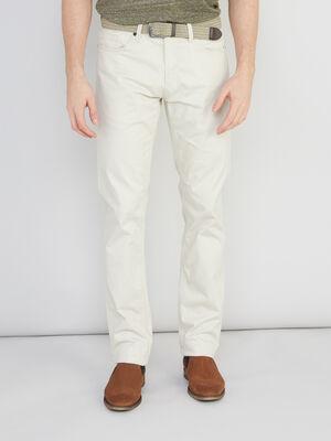 Pantalon avec ceinture tressee ecru homme