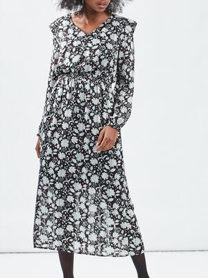 Robe longue droite noir femme