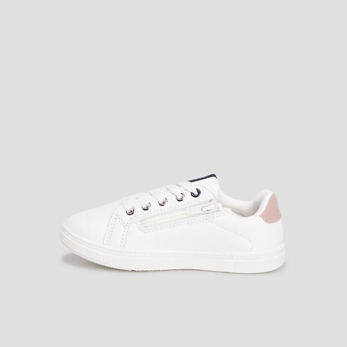 Baskets tennis zippées à lacets fille blanc