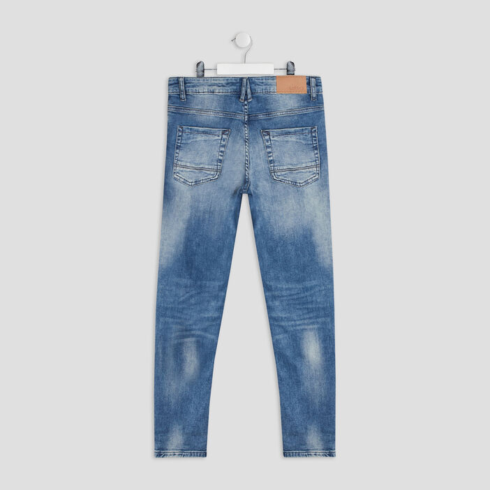Jeans straight destroy Creeks garçon denim double stone