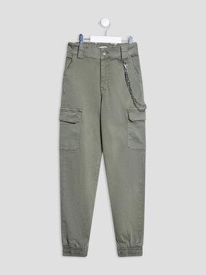 Pantalon battle avec chaines vert kaki fille