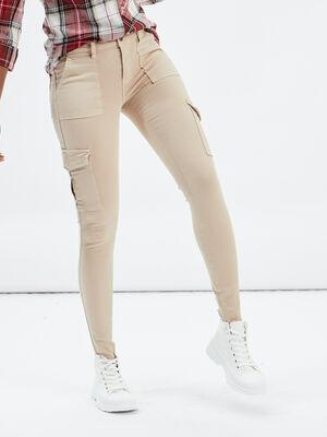 Pantalon skinny Creeks beige femme