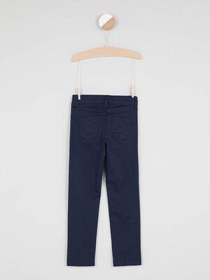 Pantalon skinny avec bouton coeur bleu marine fille