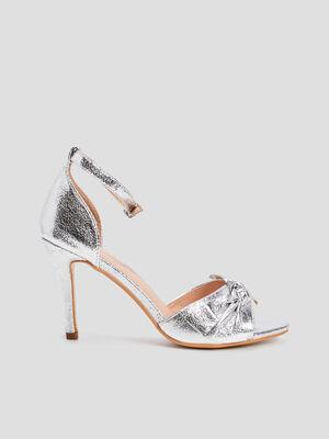 Sandales a talons couleur argent femme