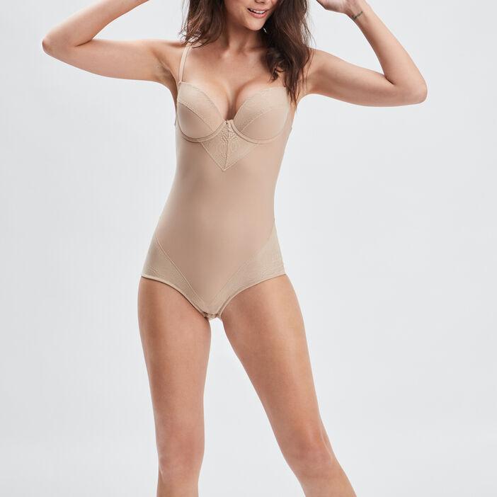 Body gainant microfibre femme beige