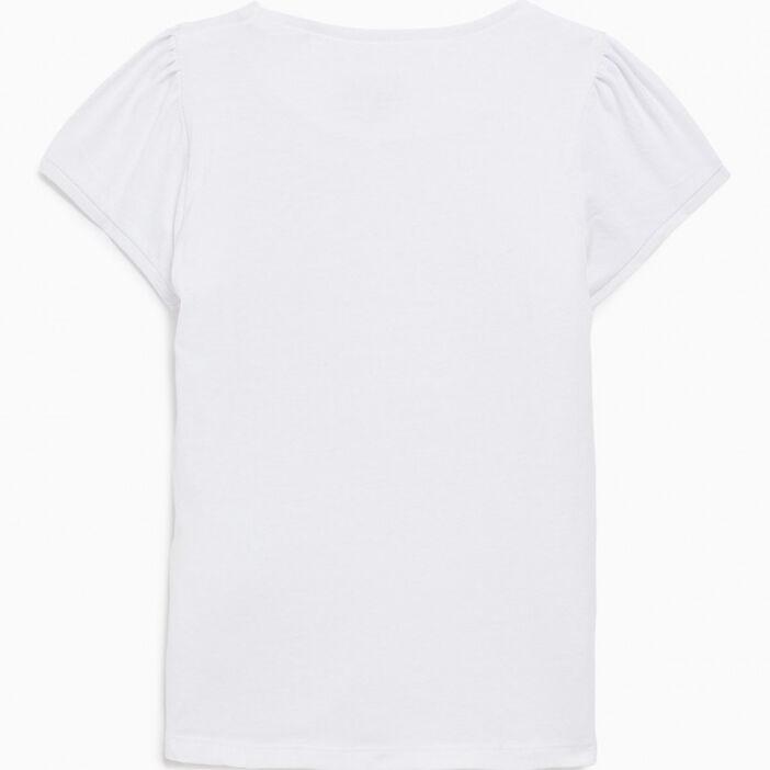 T-shirt en coton manches ballon fille blanc