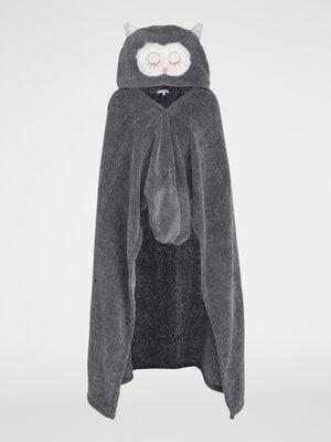 plaid hibou a capuche gris femme