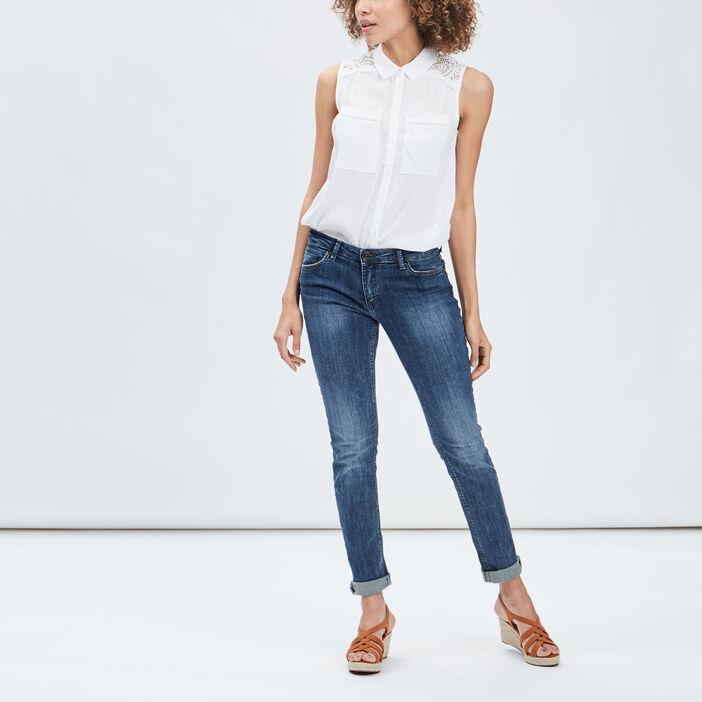 Chemise sans manches femme blanc