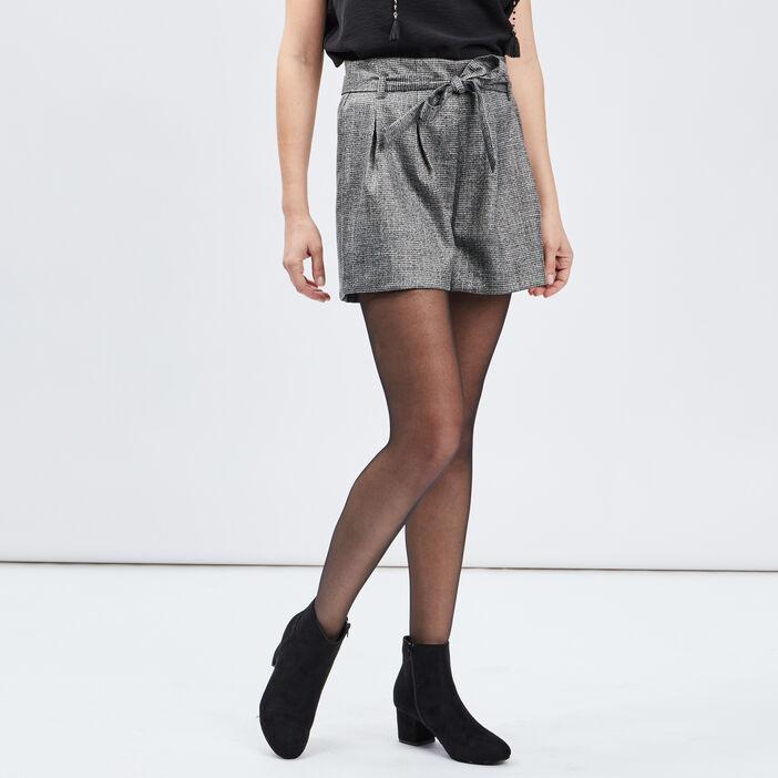 Short paperbag femme gris