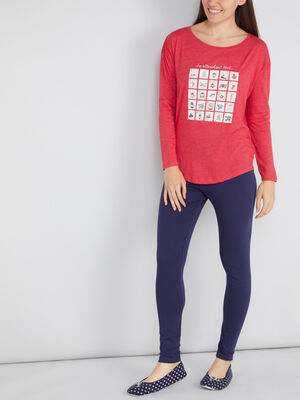 Pyjama legging t shirt imprimes rouge femme