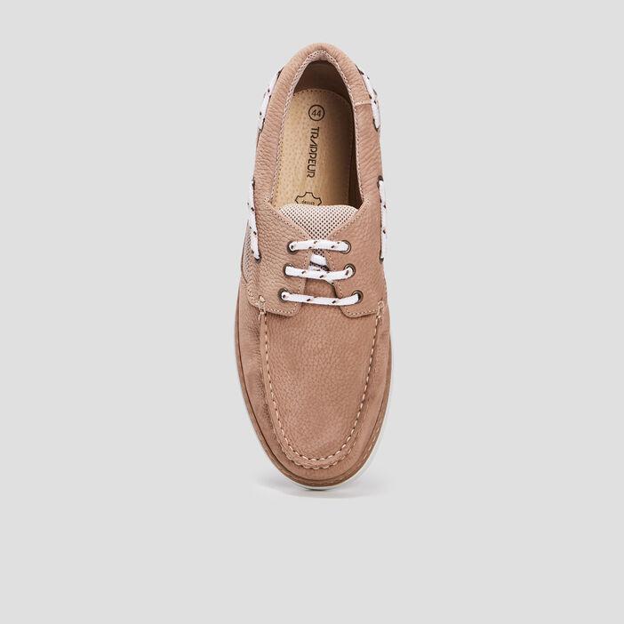 Chaussures bateau en cuir Trappeur homme beige