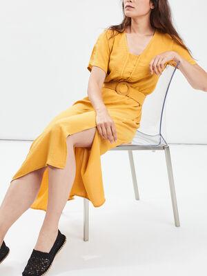 Robe longue droite ceinturee jaune fonce femme
