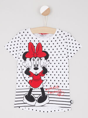 T shirt Minnie motif pois blanc fille