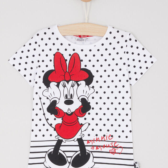 T-shirt Minnie motif pois fille blanc