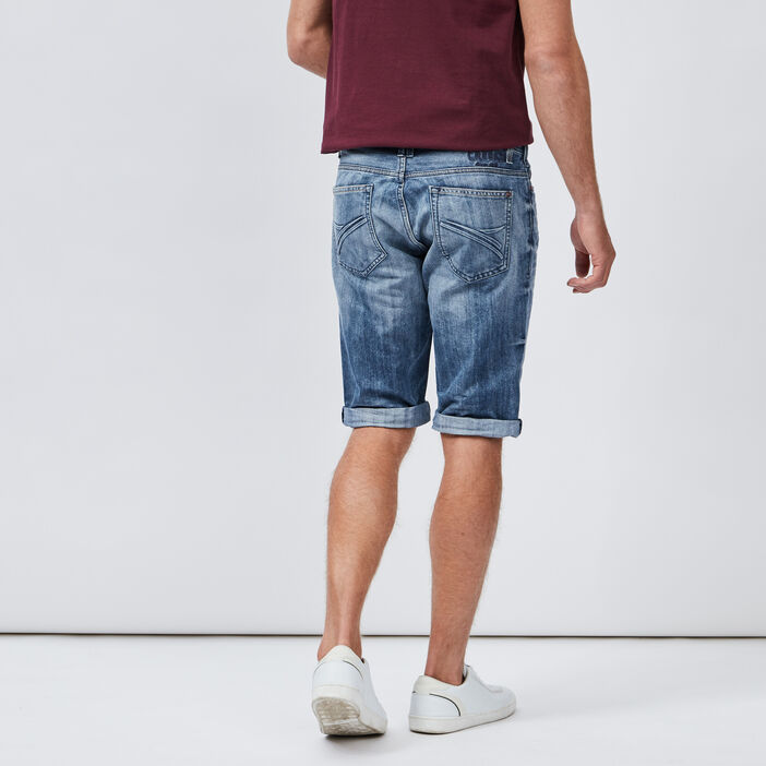 Bermuda droit en jean Creeks homme denim bleach