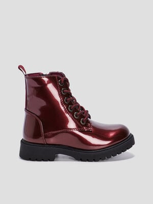 Bottines vernies bordeaux fille