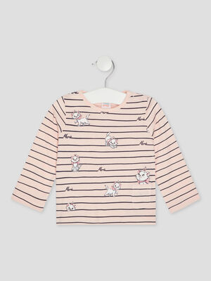 T shirt Les Aristochats rose clair fille