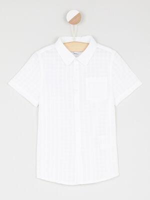 Chemise coton a carreaux blanc garcon
