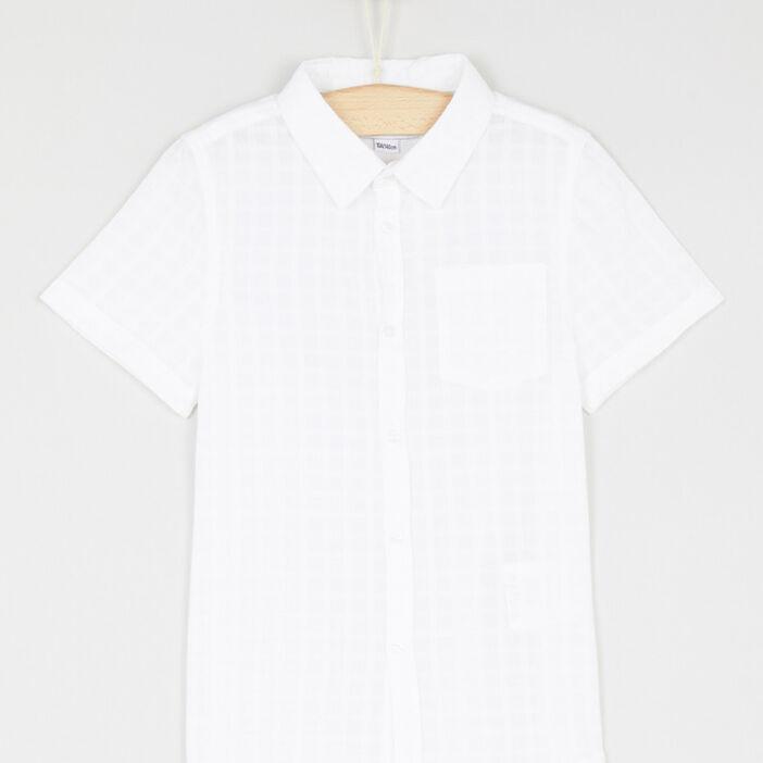 Chemise coton à carreaux garçon blanc