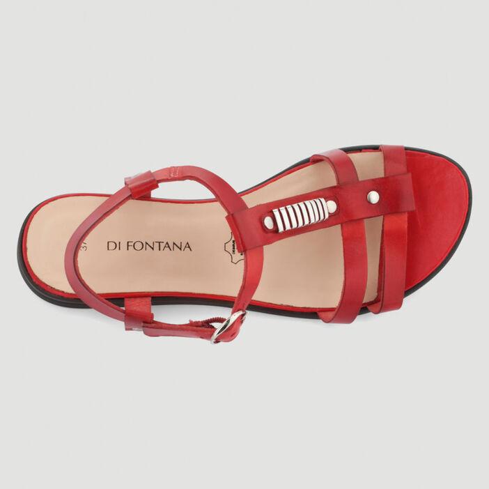 Sandales unies cuir lisse femme rouge