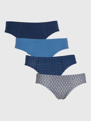 Lot 4 slips coordonnes coton bleu homme