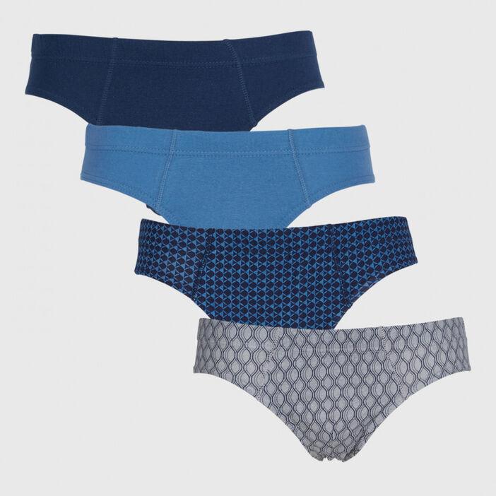 Lot 4 slips coordonnés coton homme bleu