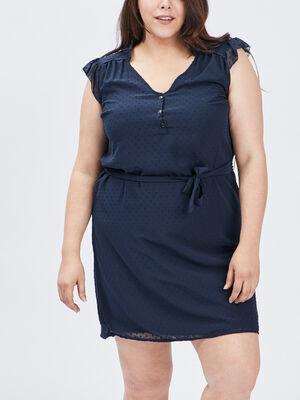 Robe droite ceinturee bleu marine femmegt