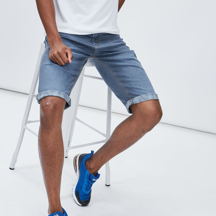Bermuda droit en jean Creeks homme bleu gris