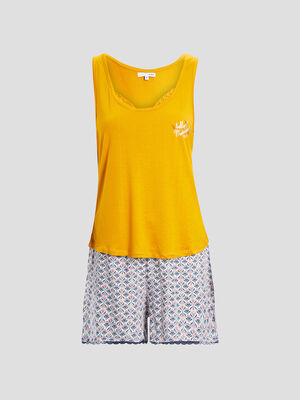 Ensemble pyjama 2 pieces jaune moutarde femme