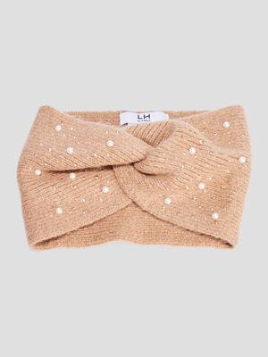 Bandeau tricote avec perles beige femme
