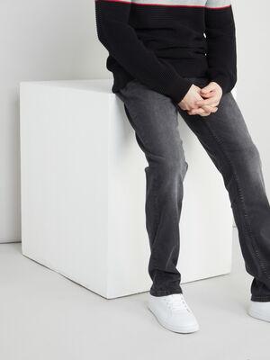 Jean droit effet use gris homme