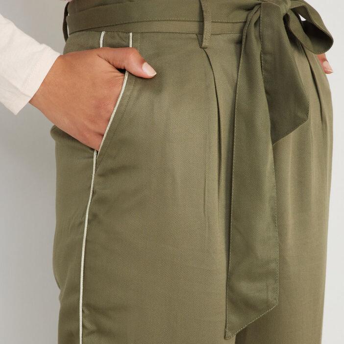 Pantalon large en tencel femme vert kaki