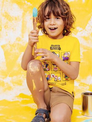 T shirt manches courtes Mario jaune garcon