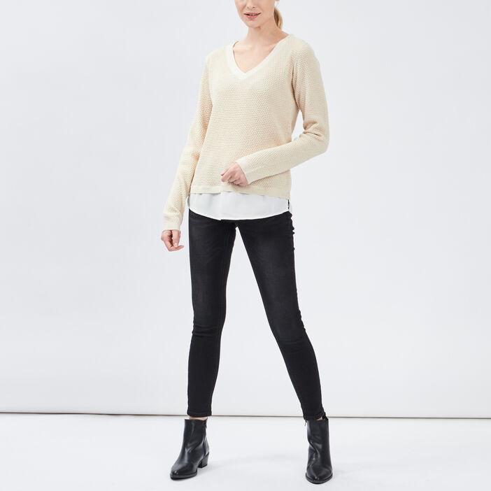 Pull détail noeud au dos femme beige