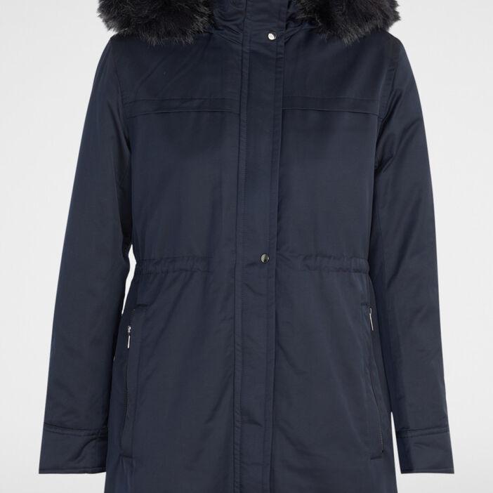 Manteau à capuche fourrure synthétique femme bleu marine