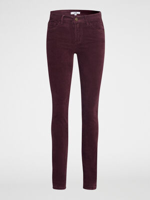 Pantalon droit en velours prune femme