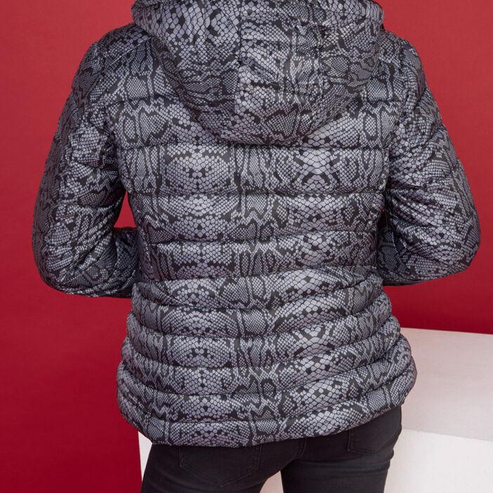Doudoune à capuche imprimé python femme gris