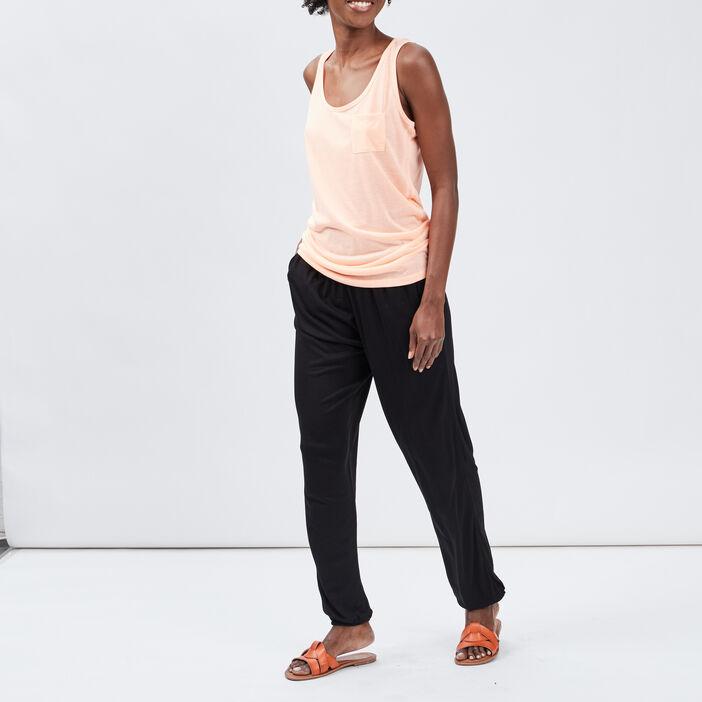 Pantalon droit fluide femme noir