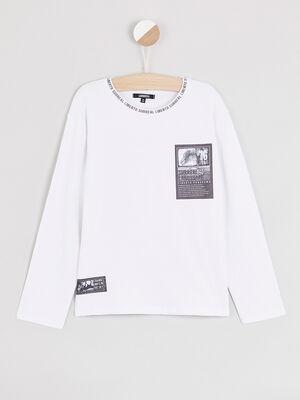 T shirt coton imprimes places blanc garcon