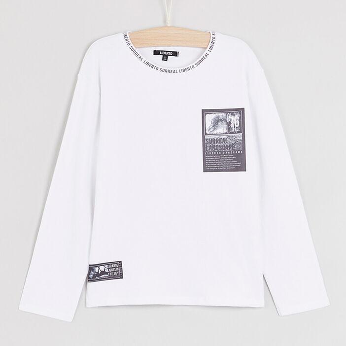T-shirt coton imprimés placés garçon blanc