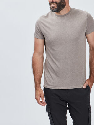 T shirt manches courtes taupe homme