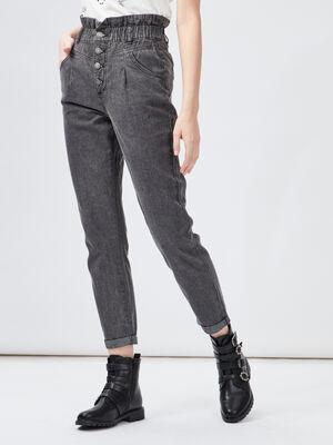 Jeans droit taille haute noir femme
