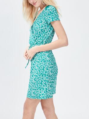 Robe droite ceinturee vert femme