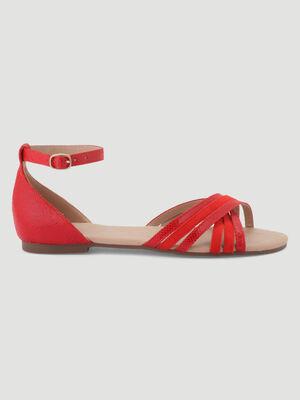 Sandales plates details reptile rouge femme