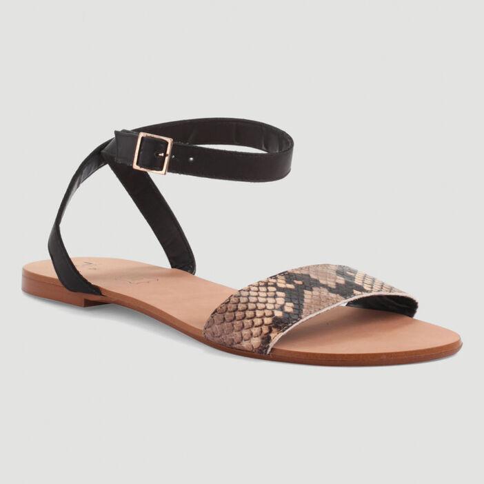 Sandales à bride imprimé python femme noir