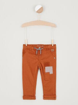 Pantalon details contrastes coton camel garcon